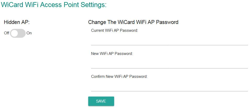 wicard settings password